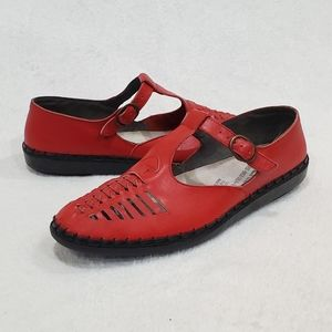 Rieker Riricon Red Leather T-Strap  Mary Janes 8.5